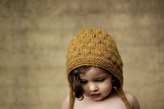Bumpy Bonnet, Straw, Toddler Size. Handmade, Vintage-Inspired Woollen Hat