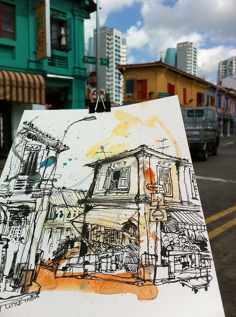 Sketching at Dunlop Street, Little India