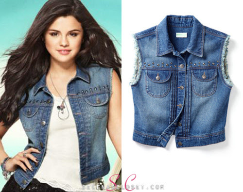 Selena Gomez loves her denim vests so its only fitting that her clothing line would have them too, right? This Dream Out Loud Junior's Studded Denim Vest comes in colors medium wash and sangria (a fiery redish color) and its available for only $20 exclusively at Kmart. Buy it HERE