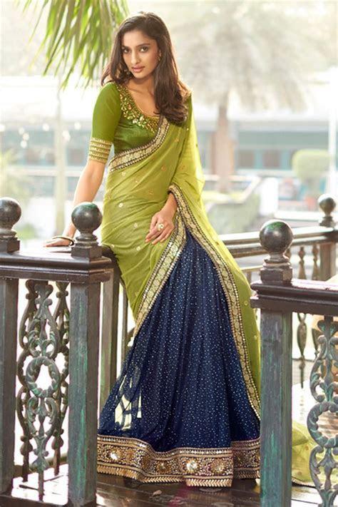 Green Blue Georgette #Embroidered Designer #Saree $ 64