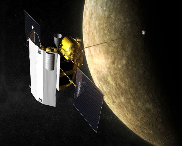 An artist's concept of NASA's MESSENGER spacecraft orbiting Mercury.