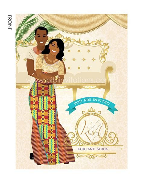 Ghana Traditional wedding invitation Card