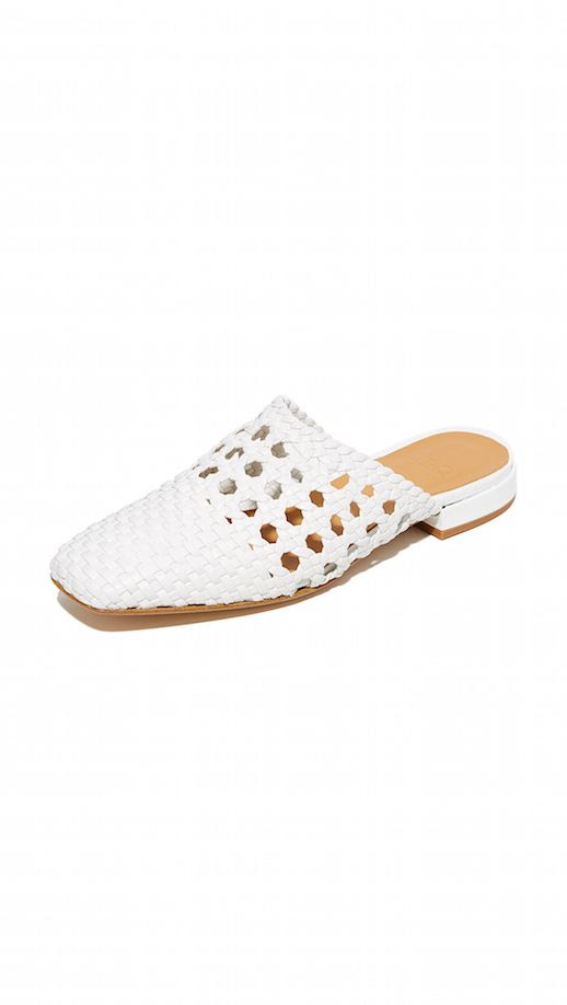 Le Fashion Blog Must Have LOQ White Woven Goatskin Mules Via Shopbop