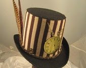 STEAMPUNK TOP HATS, Steamunk Shop, Felt, Brown Top Hat with clock parts and pheasant feathers