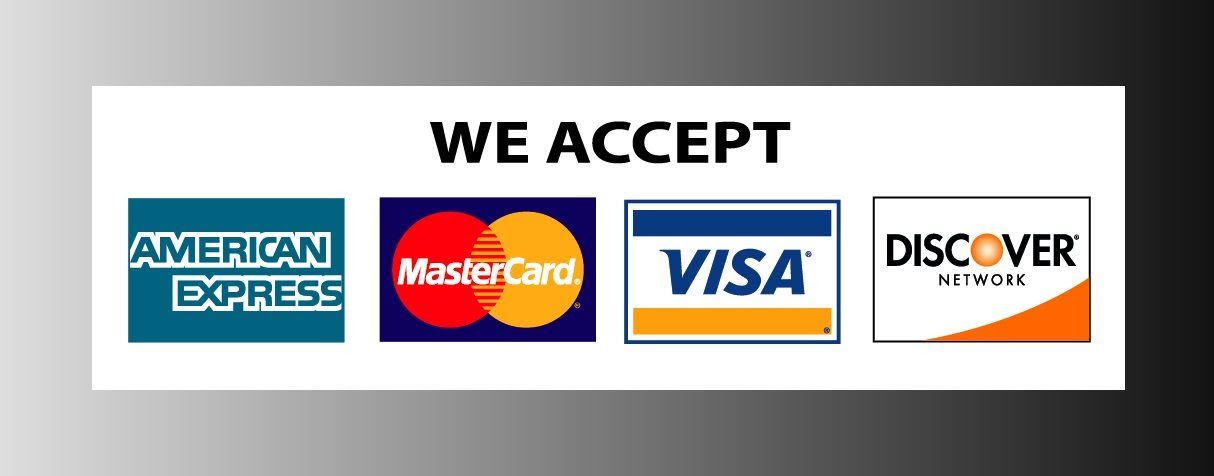 Amazon.com: We Accept Credit Cards Visa Mastercard AMEX Discovery ...