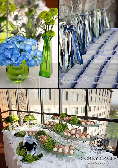 Blue and Green Wedding Details, Canolis as wedding dessert at reception at the Grove Park Inn