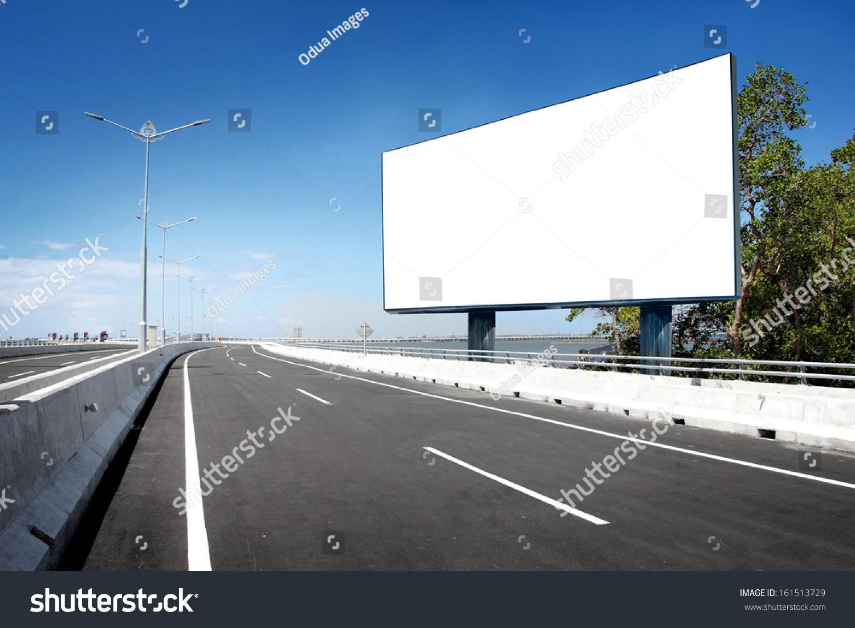 Blank Billboard Road Sign On Highway Stock Photo 161513729 ...