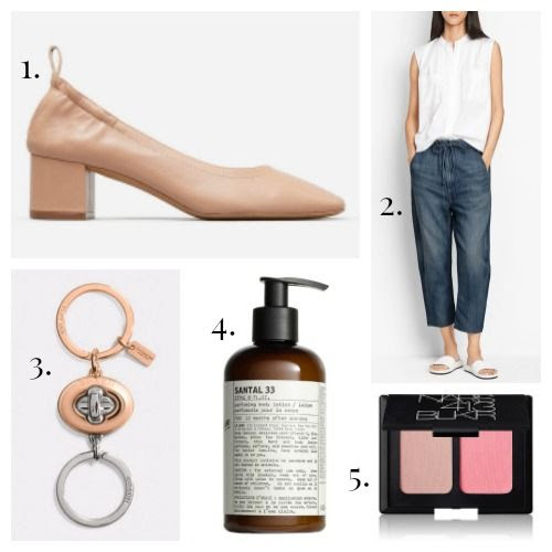 Everlane Pumps - Vince Trousers - Coach Keyring - Le Labo Lotion - NARS Blush