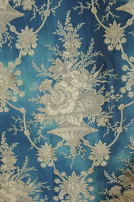 19th century  antique French Prussian blue fabric