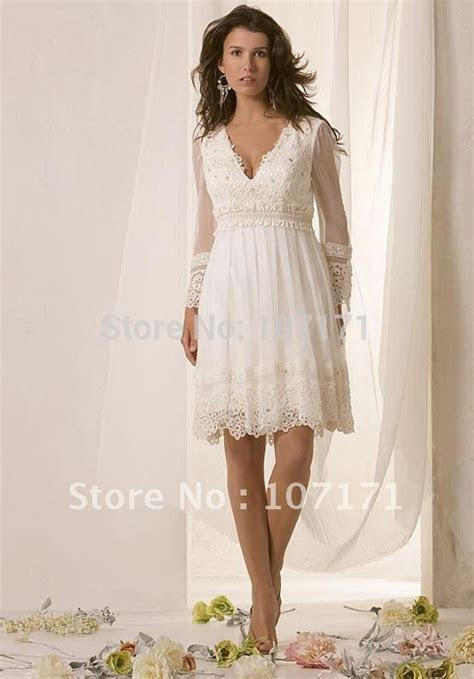 Latest V neck Long Sleeve Applique Chiffon Little White