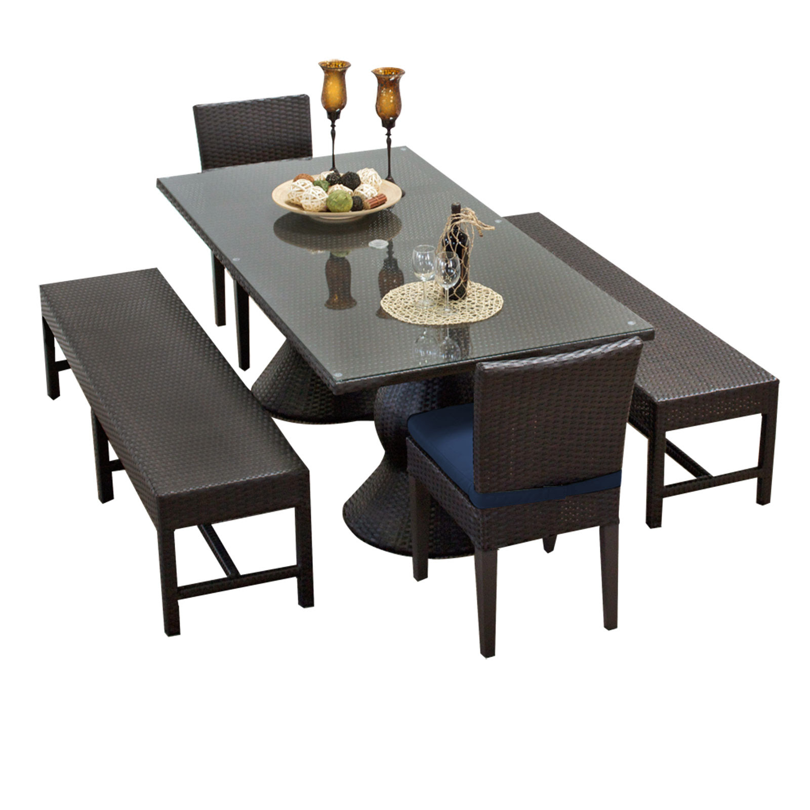 TK Classics :: Napa Rectangular Outdoor Patio Dining Table With 2 Chairs and 2 Benches