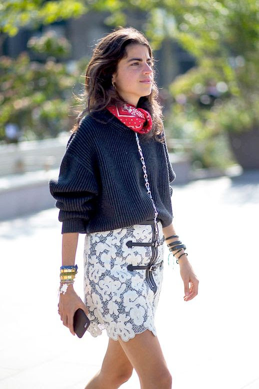 Le Fashion Blog Street Style Lfw Leandra Medine Red Bandana Neck Scarf Grey Ribbed Sweater White Lace Skirt Via Harpers Bazaar
