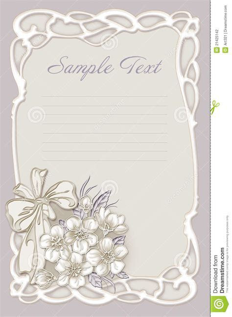 Wedding Invitation, Frame With Flowers Stock Illustration