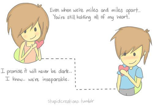 Sweet Cute Romantic Best Cartoon Love Quotes We Are Miles Apart