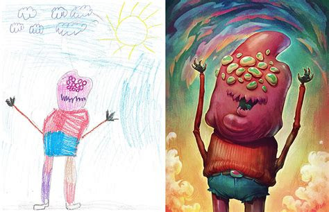 artists redraw kids doodles  scary monsters