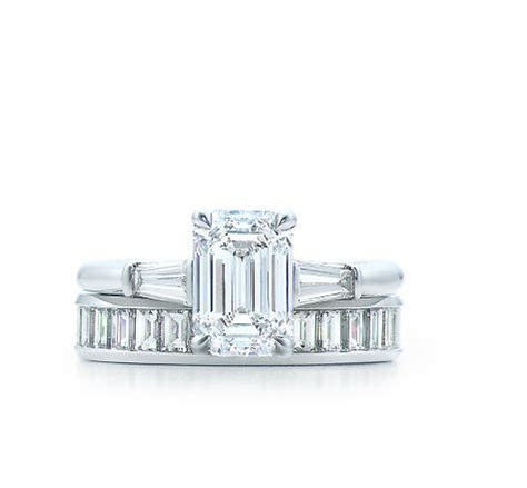 Tiffany emerald cut diamond ring with tapered baguettes