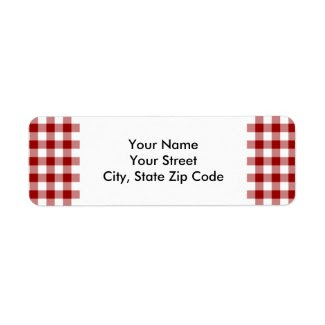 Red and White Gingham Pattern return address label zazzle_label