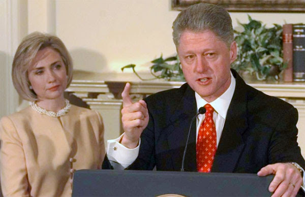 "In 1998, then-President Bill Clinton tells America, ""I did not have sexual relations with that woman, Miss Lewinsky. These allegations are false"""