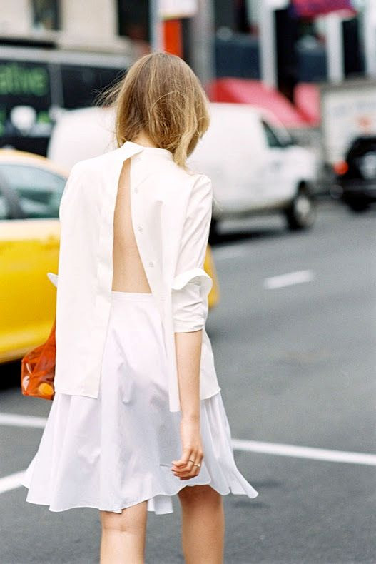Le Fashion Blog Kristina Bazan Kayture Street Style Backwards Button Down Shirt Transparent Plastic Hermes Bag White Skirt Via Vanessa Jackman
