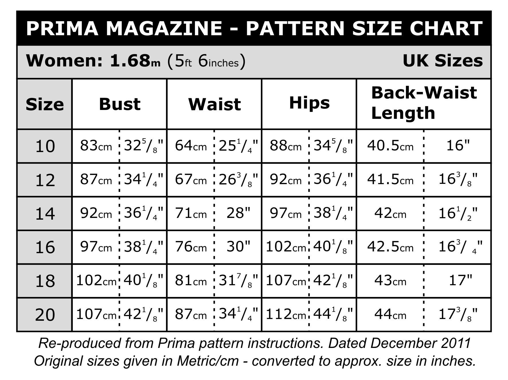 Prima Size Chart