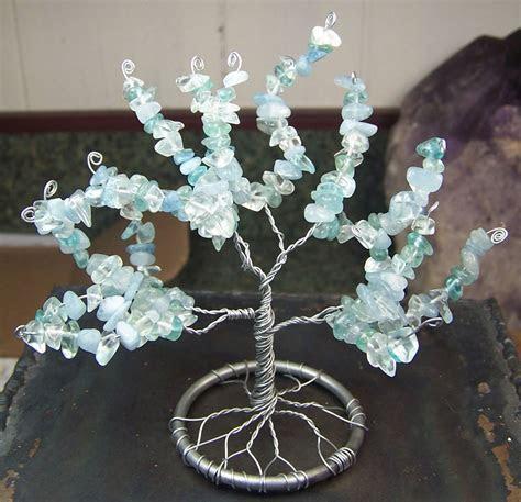 Custom Made Aquamarine Gemstone Tree Of Life Sculpture