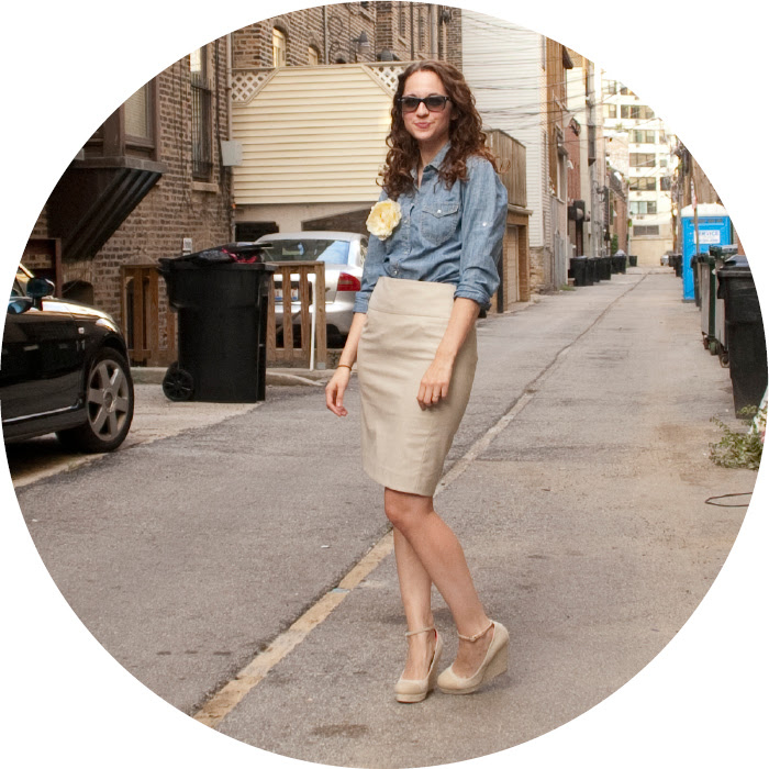 summer work outfits, dash dot dotty, outfit blog, tan pencil skirt, chambray shirt, outfit ideas, big flower pin, ootd