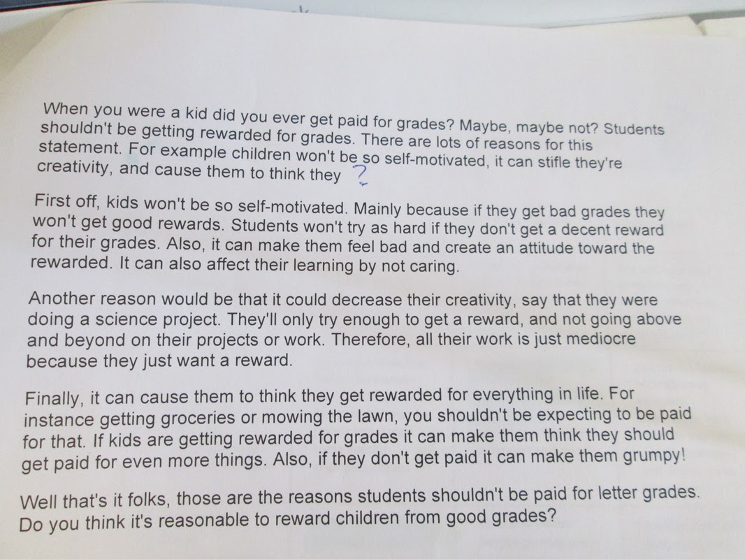 Kids should get paid for good grades essay tacoma public library homework help