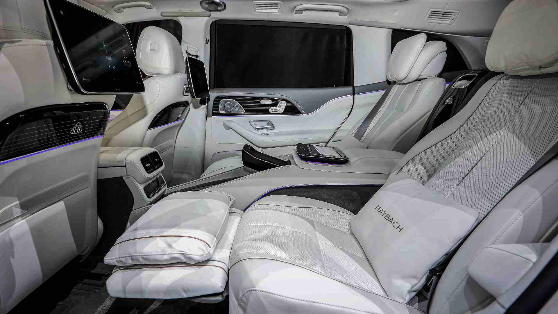 Reclining rear seats feature a massage function and powered leg rests. Image: Mercedes-Benz