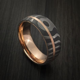Damascus Steel Tiger Pattern 14K Rose Gold Ring Wedding