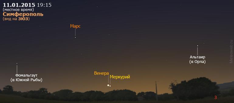 Меркурий, Венера и Марс на вечернем небе Симферополя 11 января 2015 г.