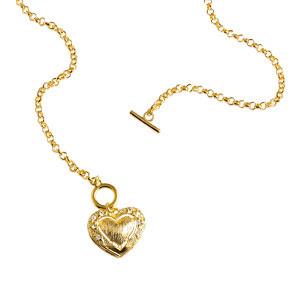 Colier placat cu aur si pandantiv inima decorat cu zirconiu