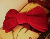 Vintage 70s Bow Tie Velvet Red Burgundy