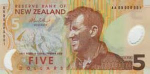 Edmund Hillary on the New Zealand five-dollar note