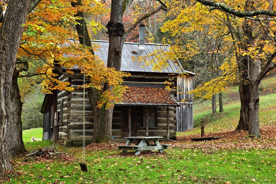 An authentic country cabin in the woods during the fall foliage season. Notice the family dog laying in the grass on the left of the cabin. Picture Height: 3744 pixels | Picture Width: 5616 pixels | Lens Aperture: f/13.5 | Image Exposure Time: 3/10 sec | Lens Focal Length mm: 67 mm | Photo Exposure Value: 0 EV | Camera Model: Canon EOS 5D Mark II | Photo White Balance: 0 | Color Space: sRGB | ForestWander Nature Photography: ForestWander Nature Photography | ForestWander: ForestWander.com |