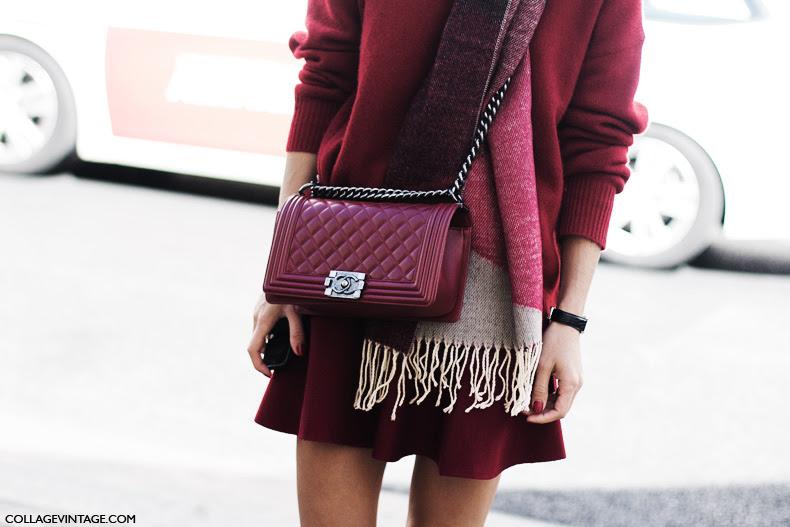 Paris_Fashion_Week_Spring_Summer_15-PFW-Street_Style-Caroline_De_Maigret-Total_Burgundy-Chanel_Bag-
