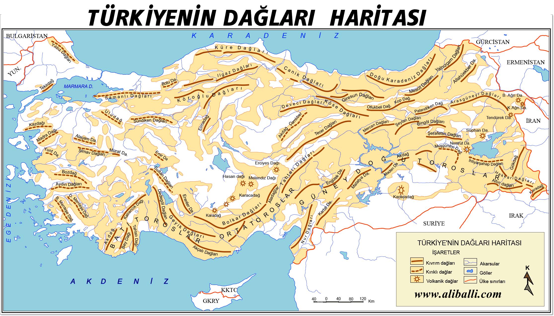 Türkiyenin Dağları Haritası Ali Balli