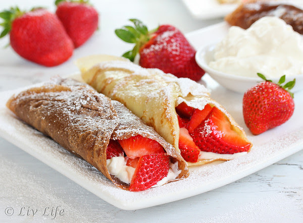 Strawberries and Cream Crepes, chocolate and vanilla versions