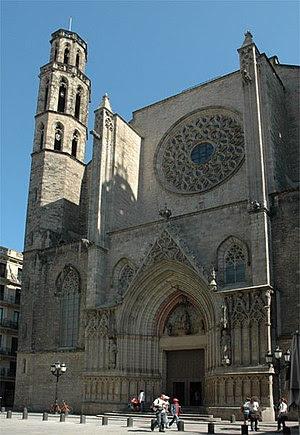 Façana de l'església de Santa Maria del Mar. B...