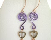 Purple Aluminum Wire Wrapped Earrings , Heart Bead Dangle Earrings , Unique Handmade Jewelry , Valentine's Day Love Earrings - 2012BellaVida