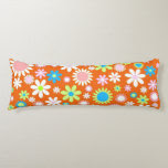 Orange Flower Power Body Pillow