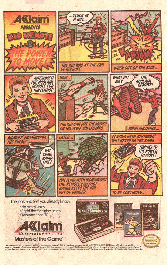Comic book-format ad for Acclaim's Remote Controller for Nintendo