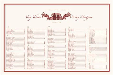 Double Happiness Symbol Chinese Wedding Seating Chart