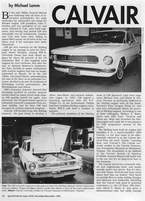 SIA Flashback – Calvair: GM's Stirling Effort | Hemmings Daily
