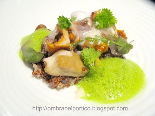 Quinoa come un risotto, lardo di colonnata, finferli, porcini e spuma di prezzemolo