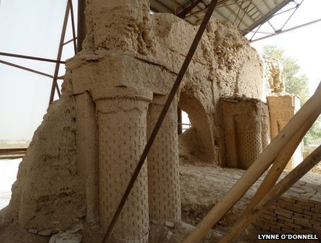 Restoration work at the Mosque of Nine Domes in Balkh, Afghanistan.
