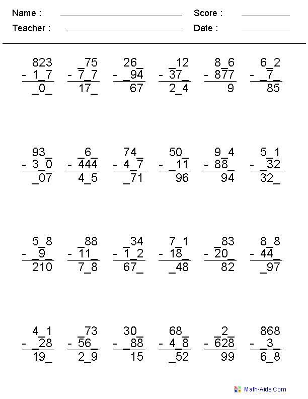 missing digit subtraction