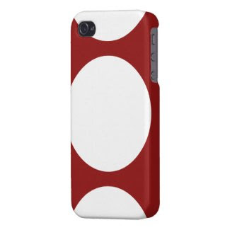 White Circles on Red Case For iPhone 4