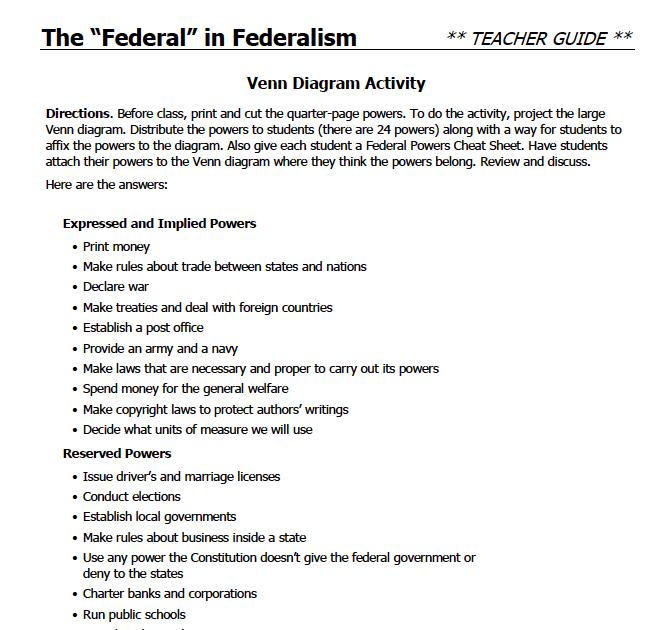 33 Icivics Federalism Worksheet Answers - Notutahituq ...