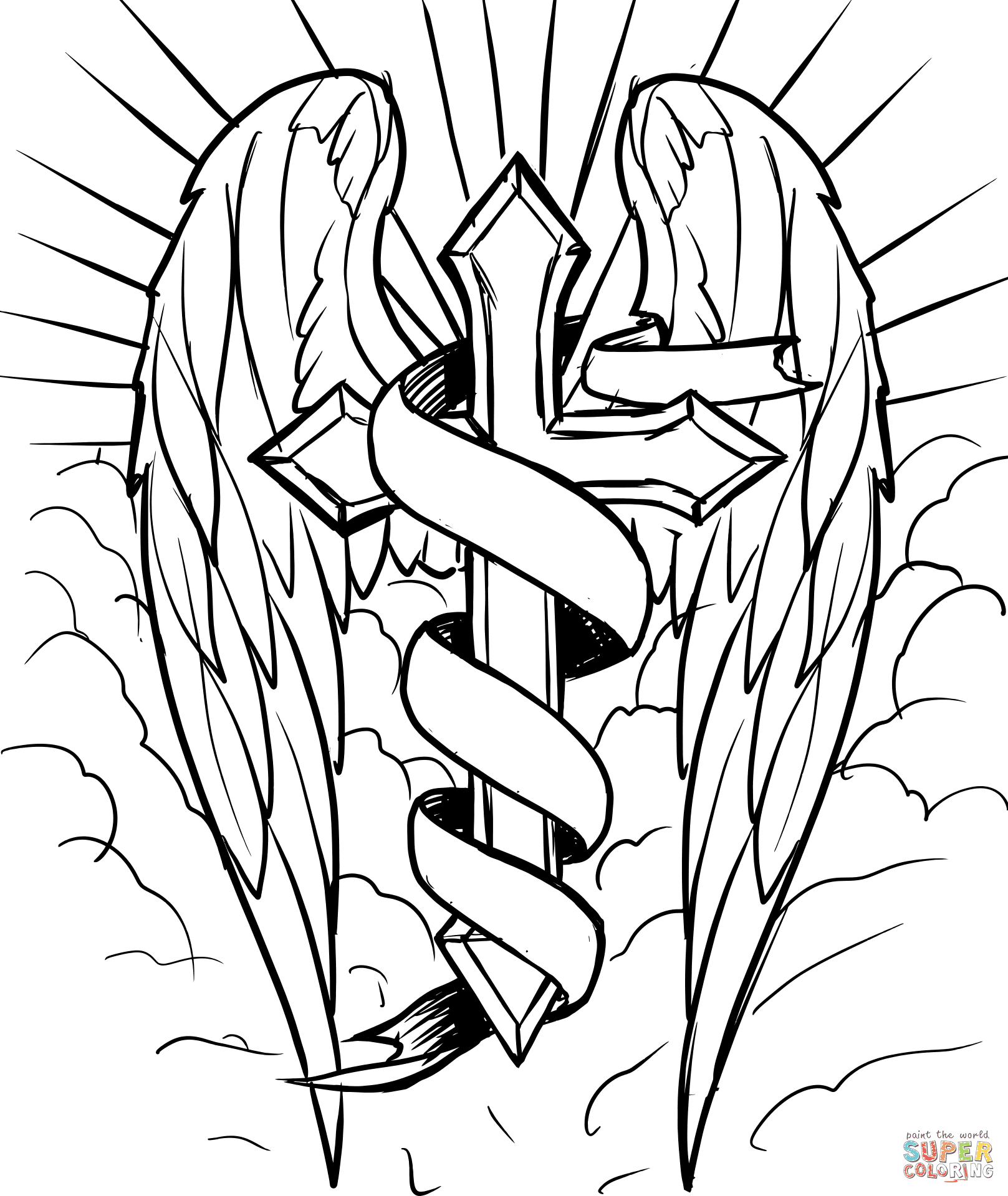 Cross With Wings In The Clouds Coloring Page Free Printable