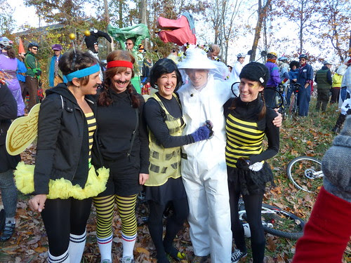 There were many bees at the Pumpkin Pedaler